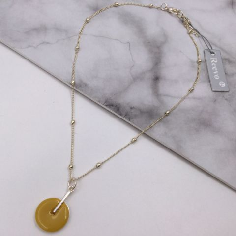 GOLD MUSTARD DISC NECKLACE